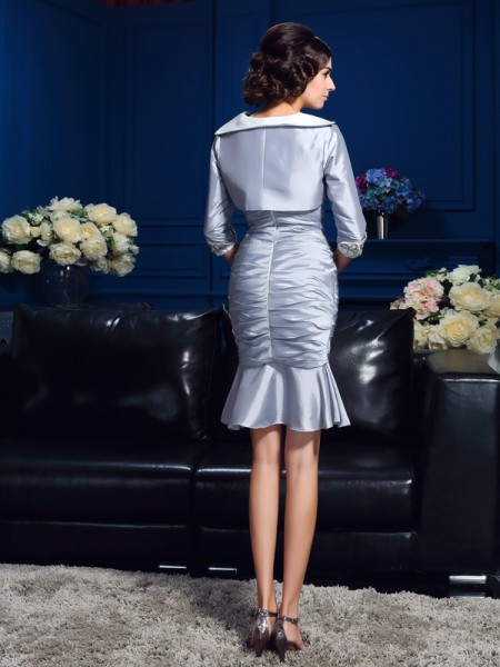 Sheath/Column Short/Mini Sweetheart Sleeveless Taffeta Mother of the Bride Dresses