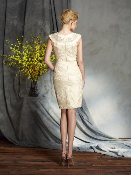 Sheath/Column Short/Mini Bateau Short Sleeves Elastic Woven Satin Mother of the Bride Dresses