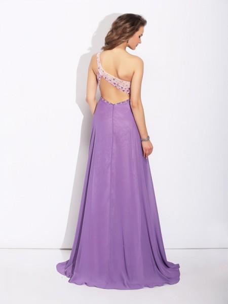 A-Line/Princess Crystal Sweep/Brush Train One-Shoulder Sleeveless Chiffon Dresses