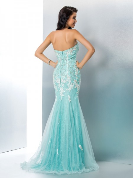 Trumpet/Mermaid Applique Floor-Length Strapless Sleeveless Lace Dresses