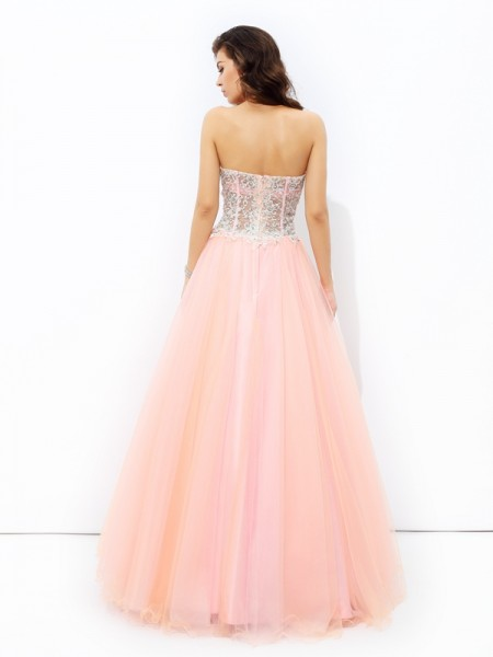 A-line/Princess Lace Floor-length Sweetheart Sleeveless Net Dresses