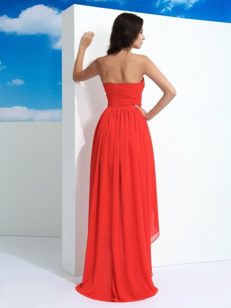 A-Line/Princess Pleats Asymmetrical Sweetheart Sleeveless Chiffon Dresses