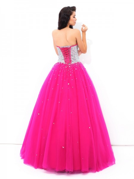 Ball Gown Beading Floor-Length Sweetheart Sleeveless Satin Quinceanera Dresses