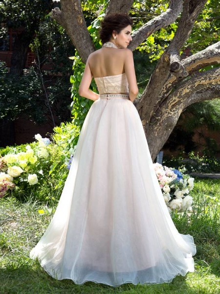 A-Line/Princess Beading Sweep/Brush Train High Neck Sleeveless Net Dresses