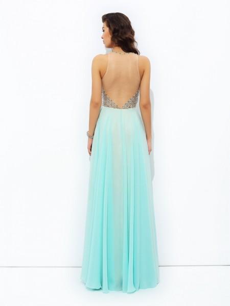 A-line/Princess Beading Floor-Length Jewel Sleeveless Chiffon Dresses
