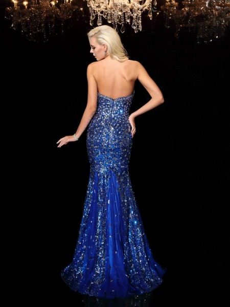 Trumpet/Mermaid Sequin Sweep/Brush Train Sweetheart Sleeveless Sequins Dresses