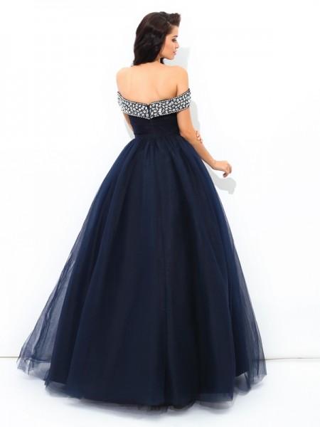 Ball Gown Beading Floor-Length Off-the-Shoulder Sleeveless Net Quinceanera Dresses