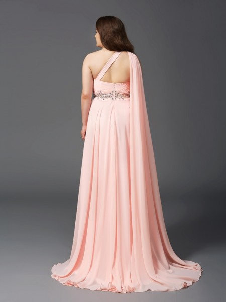 A-Line/Princess Rhinestone Sweep/Brush Train One-Shoulder Sleeveless Chiffon Dresses