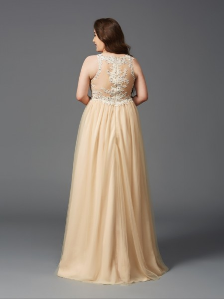 A-Line/Princess Rhinestone Floor-Length Scoop Sleeveless Net Dresses