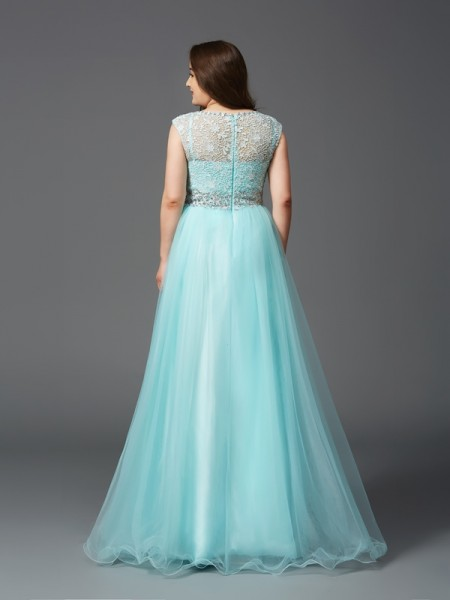 A-Line/Princess Rhinestone Floor-Length Scoop Sleeveless Elastic Woven Satin Dresses