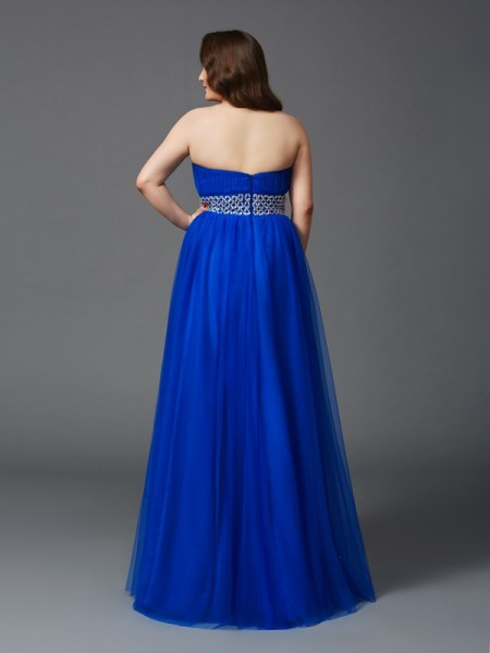 A-Line/Princess Rhinestone Floor-Length Strapless Sleeveless Net Dresses