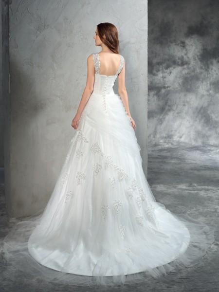 Ball Gown Applique Court Train Straps Sleeveless Net Wedding Dresses