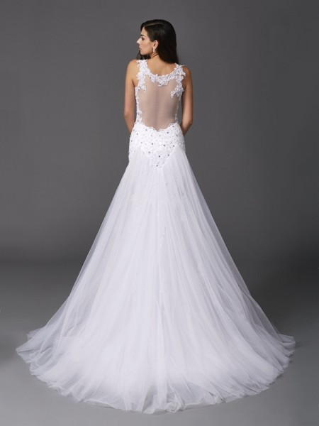 Trumpet/Mermaid Beading Sweep/Brush Train Straps Sleeveless Net Wedding Dresses