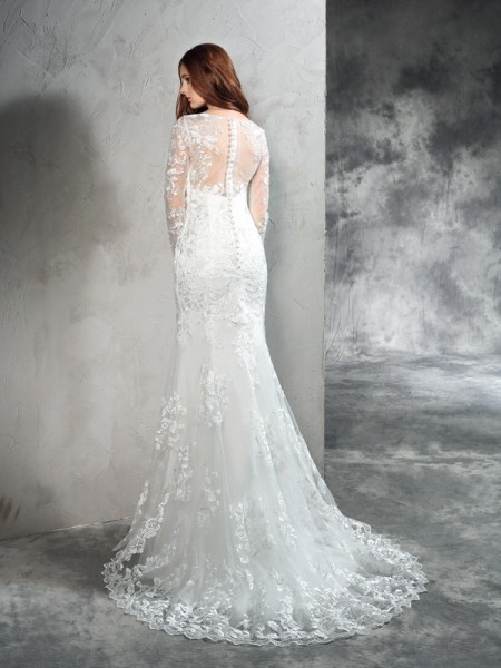 Sheath/Column Lace Sweep/Brush Train Sheer Neck Long Sleeves Net Wedding Dresses