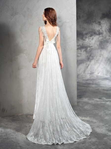 A-Line/Princess Lace Court Train Straps Sleeveless Lace Wedding Dresses