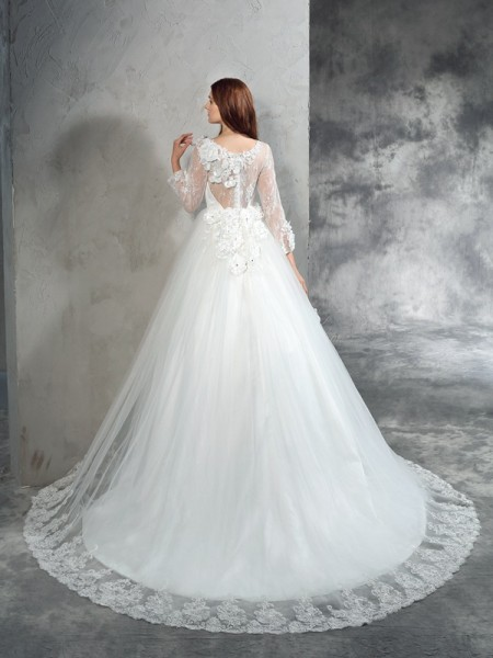Ball Gown Hand-Made Flower Court Train Sheer Neck Long Sleeves Net Wedding Dresses