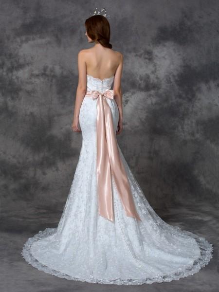 Trumpet/Mermaid Sash/Ribbon/Belt Court Train Strapless Sleeveless Lace Wedding Dresses