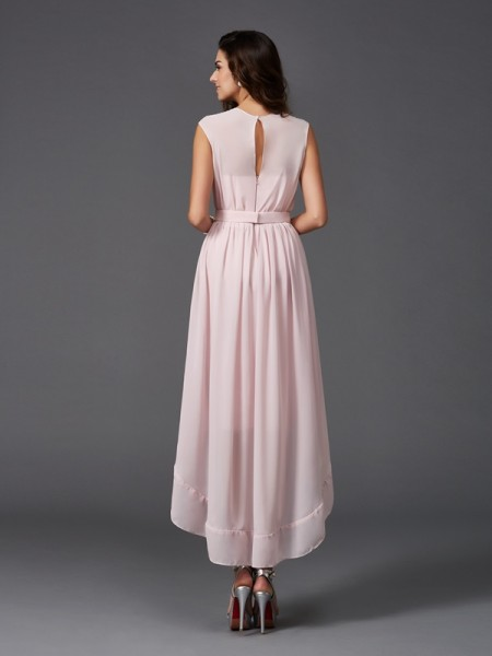 A-Line/Princess Sash/Ribbon/Belt Asymmetrical Scoop Sleeveless Chiffon Bridesmaid Dresses