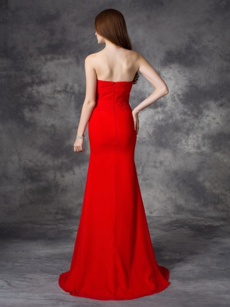 Trumpet/Mermaid Ruched Sweep/Brush Train Sweetheart Sleeveless Chiffon Bridesmaid Dresses