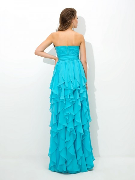 A-Line/Princess Layers Floor-Length Sweetheart Sleeveless Chiffon Bridesmaid Dresses
