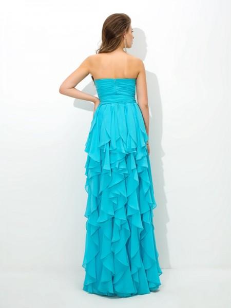 A-Line/Princess Layers Floor-Length Sweetheart Sleeveless Chiffon Bridesmaid Dresses