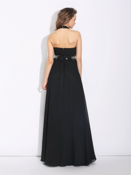 A-Line/Princess Beading Floor-Length Halter Sleeveless Chiffon Bridesmaid Dresses