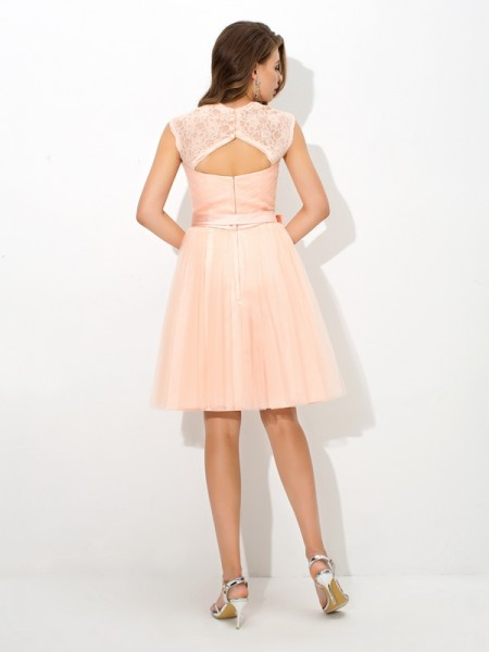 A-Line/Princess Sash/Ribbon/Belt Short/Mini Straps Sleeveless Net Bridesmaid Dresses