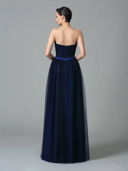 A-Line/Princess Ruffles Floor-Length Sweetheart Sleeveless Net Bridesmaid Dresses