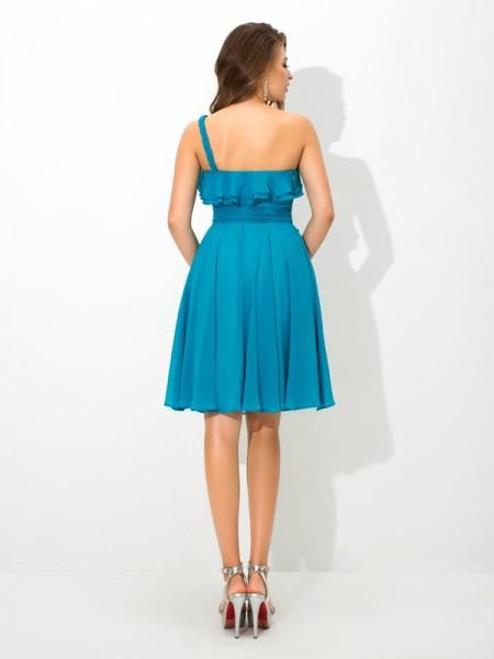 A-Line/Princess Sash/Ribbon/Belt Knee-Length One-Shoulder Sleeveless Silk like Satin Bridesmaid Dresses