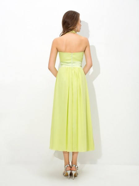 A-Line/Princess Pleats Ankle-Length Halter Sleeveless Chiffon Bridesmaid Dresses