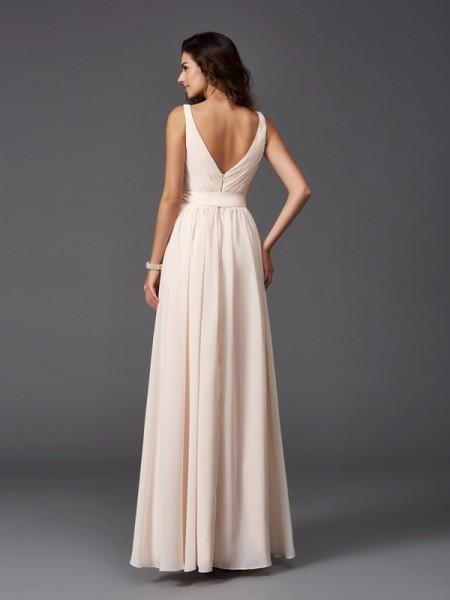 A-Line/Princess Sash/Ribbon/Belt Floor-Length Straps Sleeveless Chiffon Bridesmaid Dresses