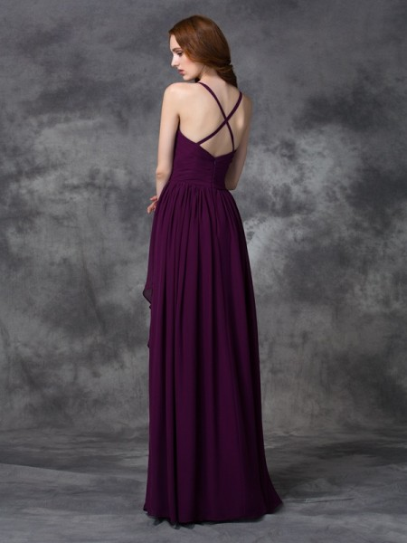 A-line/Princess Ruffles Floor-length Spaghetti Straps Sleeveless Chiffon Bridesmaid Dresses