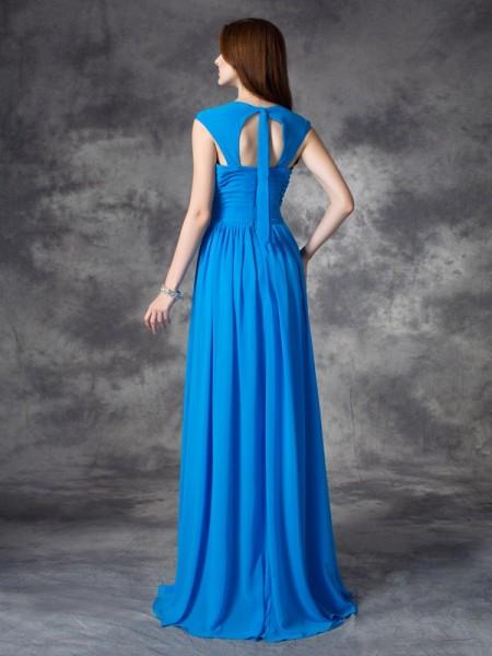 A-line/Princess Ruffles Floor-length Straps Sleeveless Chiffon Bridesmaid Dresses