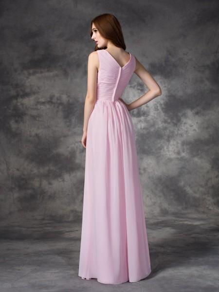 A-line/Princess Hand-Made Flower Floor-length V-neck Sleeveless Chiffon Bridesmaid Dresses