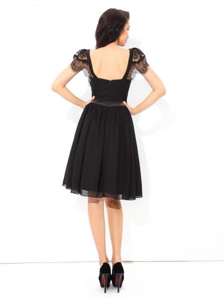 A-Line/Princess Pleats Short/Mini Straps Sleeveless Chiffon Cocktail Dresses