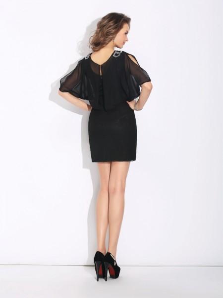 A-Line/Princess Beading Short/Mini Jewel 1/2 Sleeves Chiffon Cocktail Dresses