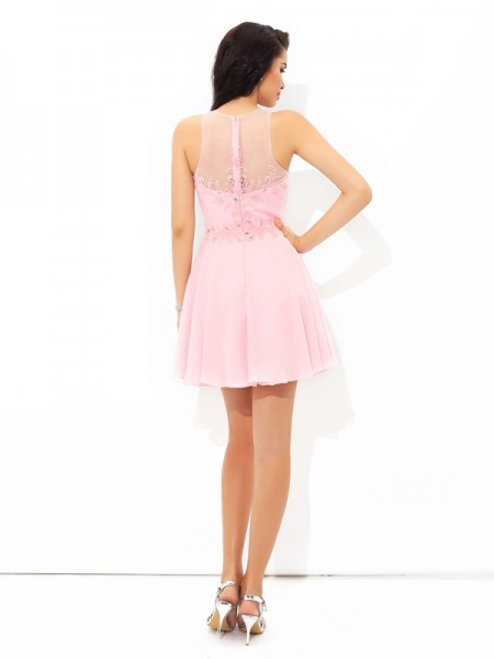 A-Line/Princess Applique Short/Mini Sheer Neck Sleeveless Chiffon Cocktail Dresses