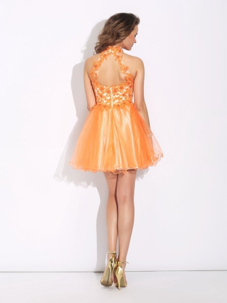 A-Line/Princess Ruffles Short/Mini High Neck Sleeveless Net Cocktail Dresses