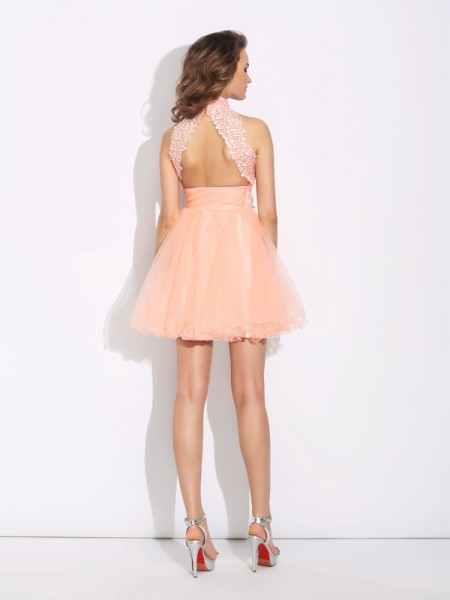 A-Line/Princess Beading Short/Mini High Neck Sleeveless Net Cocktail Dresses