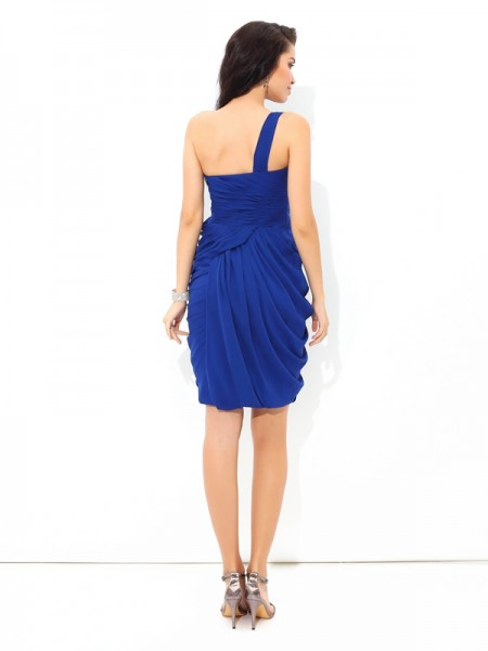 Sheath/Column Pleats Short/Mini One-Shoulder Sleeveless Chiffon Cocktail Dresses