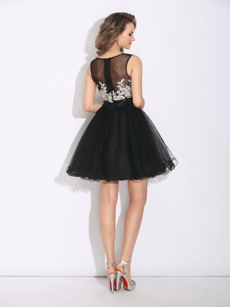 A-Line/Princess Ruffles Short/Mini Scoop Sleeveless Net Cocktail Dresses