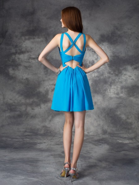 A-line/Princess Ruffles Short/Mini V-neck Sleeveless Silk like Satin Cocktail Dresses