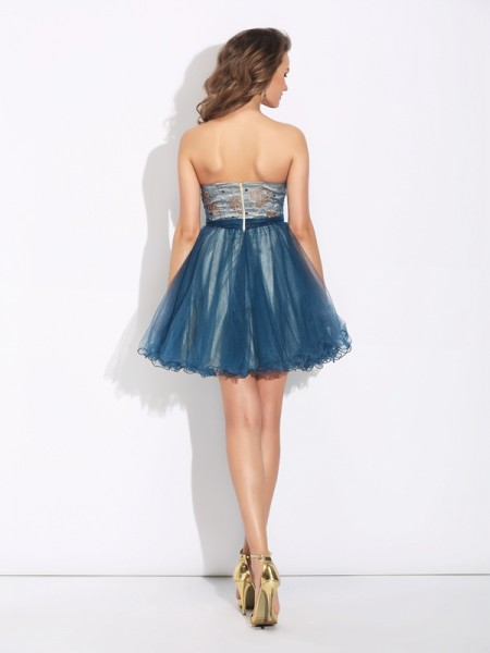 A-Line/Princess Ruffles Short/Mini Sweetheart Sleeveless Net Cocktail Dresses