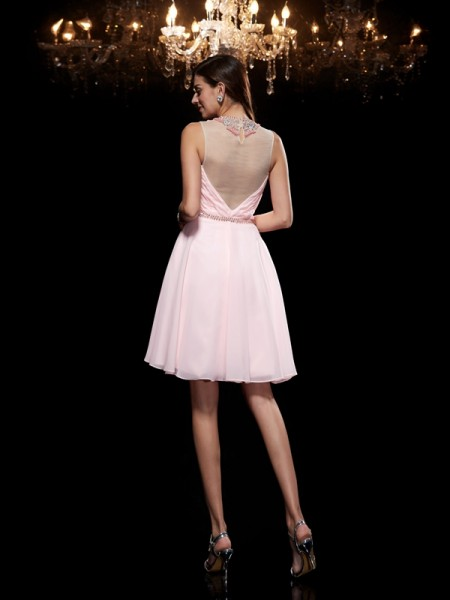 A-Line/Princess Beading Short/Mini Scoop Sleeveless Chiffon Cocktail dresses