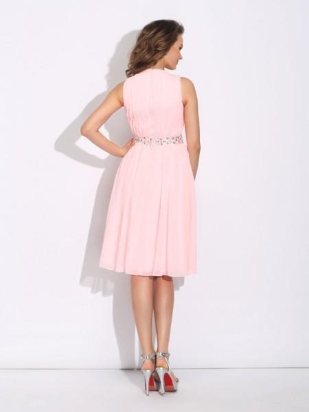 A-Line/Princess Ruffles Knee-Length Jewel Sleeveless Chiffon Cocktail Dresses