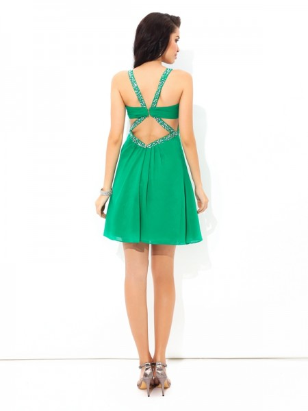 A-Line/Princess Pleats Short/Mini Straps Sleeveless Chiffon Cocktail Dresses