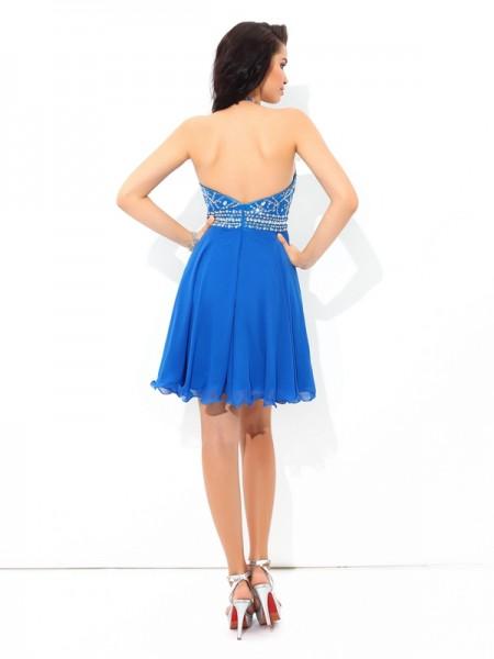 A-Line/Princess Beading Short/Mini Halter Sleeveless Chiffon Cocktail Dresses