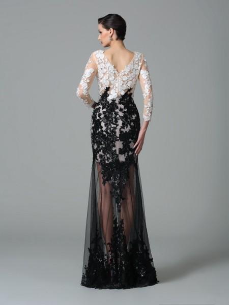 Sheath/Column Lace Floor-Length V-neck 3/4 Sleeves Net Dresses