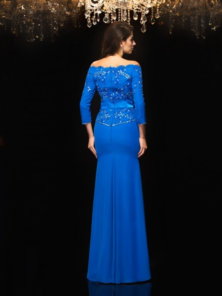 Sheath/Column Beading Floor-Length Off-the-Shoulder 3/4 Sleeves Chiffon Dresses