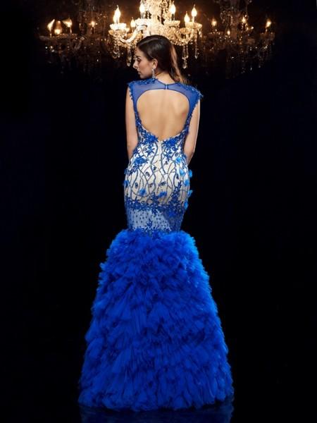 Trumpet/Mermaid Applique Floor-Length Sweetheart Sleeveless Net Dresses